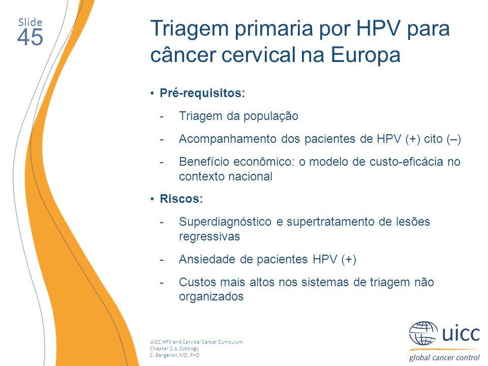 UICC HPV and Cervical Cancer Curriculum Chapter 2.b. Cytology C. Bergeron, MD, PhD Slide 45 Triagem primaria por HPV para câncer cervical na Europa Pr