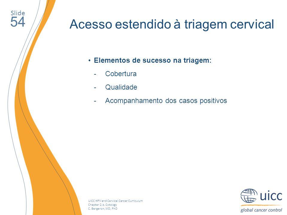 UICC HPV and Cervical Cancer Curriculum Chapter 2.b. Cytology C. Bergeron, MD, PhD Slide 54 Acesso estendido à triagem cervical Elementos de sucesso n