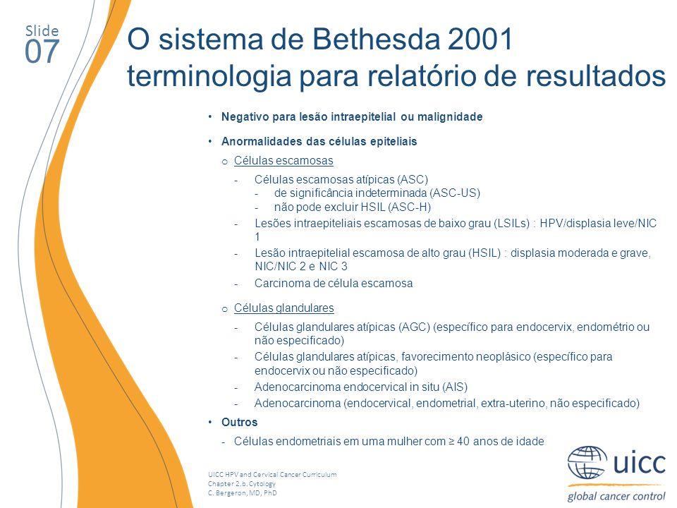 UICC HPV and Cervical Cancer Curriculum Chapter 2.b. Cytology C. Bergeron, MD, PhD Slide 07 O sistema de Bethesda 2001 terminologia para relatório de