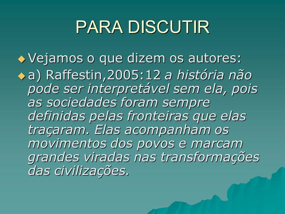 PARA DISCUTIR Vejamos o que dizem os autores: Vejamos o que dizem os autores: a) Raffestin,2005:12 a história não pode ser interpretável sem ela, pois