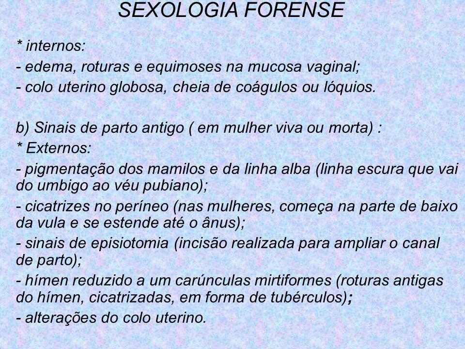 SEXOLOGIA FORENSE * internos: - edema, roturas e equimoses na mucosa vaginal; - colo uterino globosa, cheia de coágulos ou lóquios. b) Sinais de parto