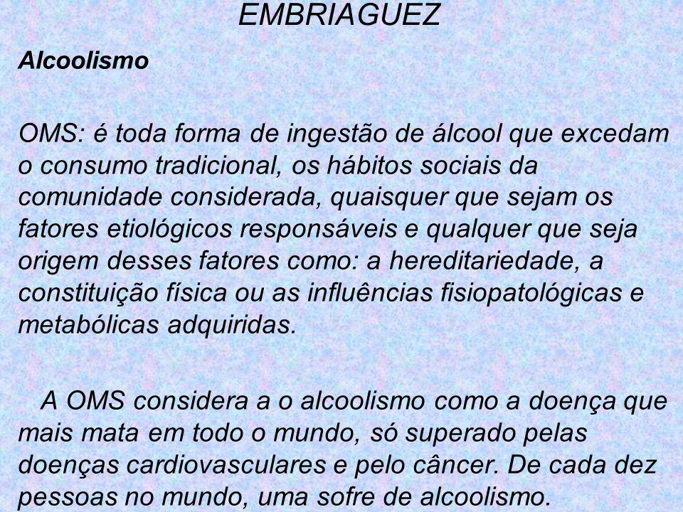 EMBRIAGUEZ Alcoolismo OMS: é toda forma de ingestão de álcool que excedam o consumo tradicional, os hábitos sociais da comunidade considerada, quaisqu