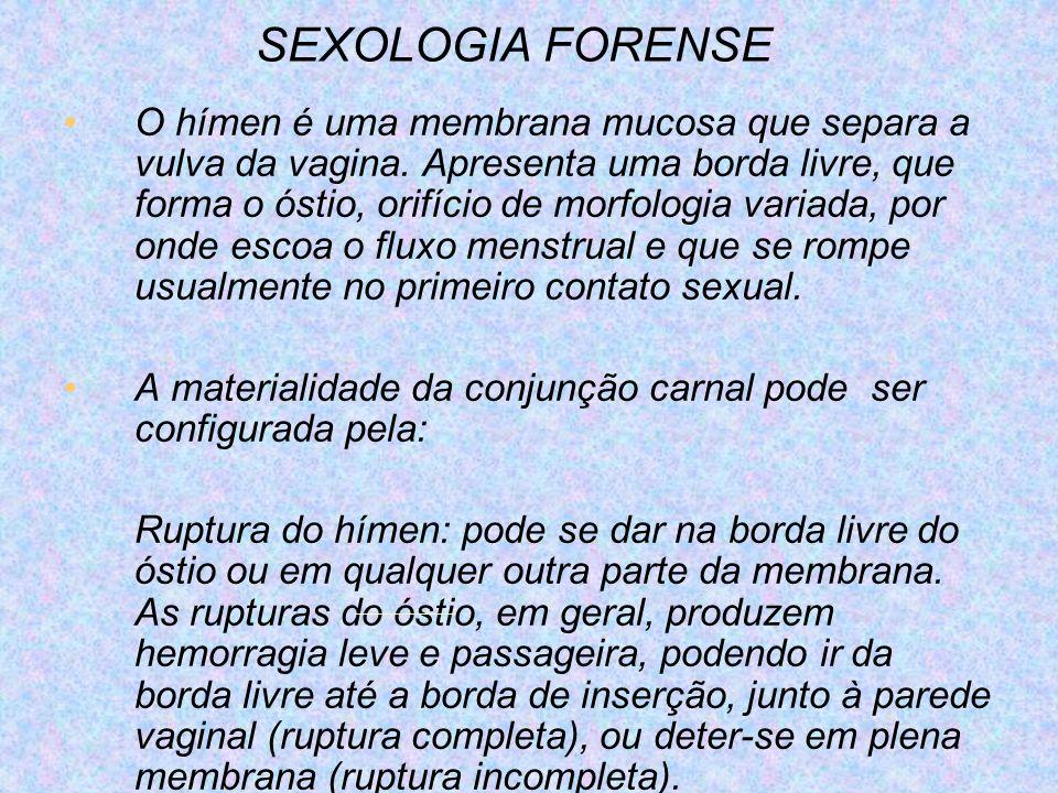 SEXOLOGIA FORENSE O hímen é uma membrana mucosa que separa a vulva da vagina. Apresenta uma borda livre, que forma o óstio, orifício de morfologia var