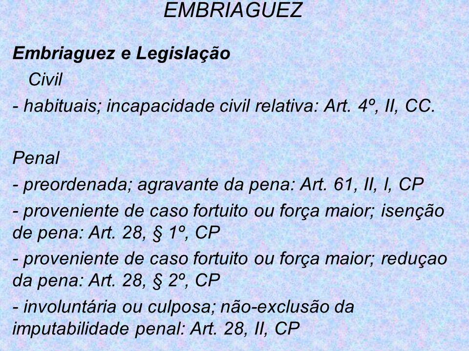 EMBRIAGUEZ Embriaguez e Legislação Civil - habituais; incapacidade civil relativa: Art. 4º, II, CC. Penal - preordenada; agravante da pena: Art. 61, I