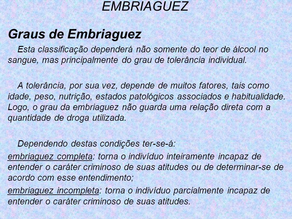 EMBRIAGUEZ Graus de Embriaguez Esta classificação dependerá não somente do teor de álcool no sangue, mas principalmente do grau de tolerância individu