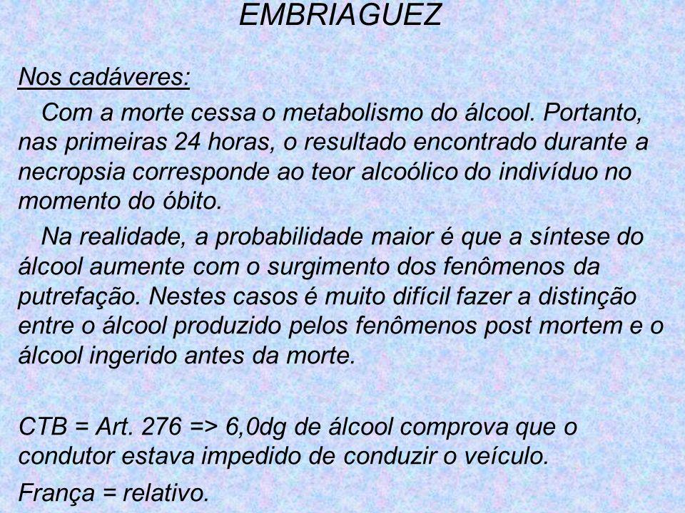 EMBRIAGUEZ Nos cadáveres: Com a morte cessa o metabolismo do álcool. Portanto, nas primeiras 24 horas, o resultado encontrado durante a necropsia corr