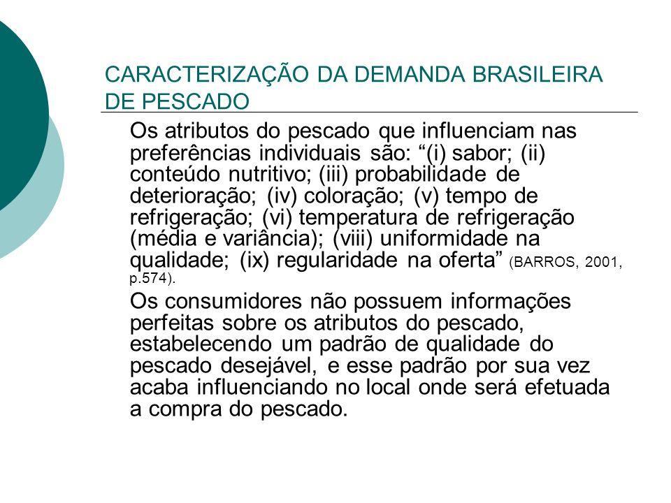 CARACTERIZAÇÃO DA DEMANDA BRASILEIRA DE PESCADO Os atributos do pescado que influenciam nas preferências individuais são: (i) sabor; (ii) conteúdo nut