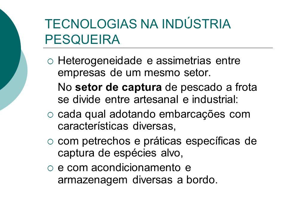 TECNOLOGIAS NA INDÚSTRIA PESQUEIRA Heterogeneidade e assimetrias entre empresas de um mesmo setor. No setor de captura de pescado a frota se divide en