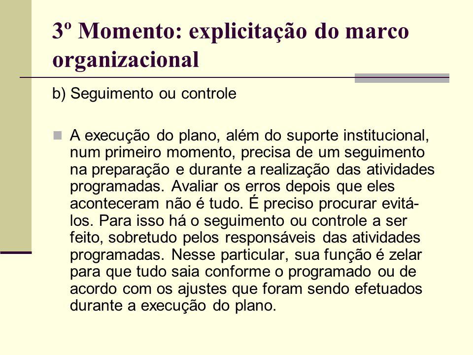 3º Momento: explicitação do marco organizacional b) Seguimento ou controle A execução do plano, além do suporte institucional, num primeiro momento, p