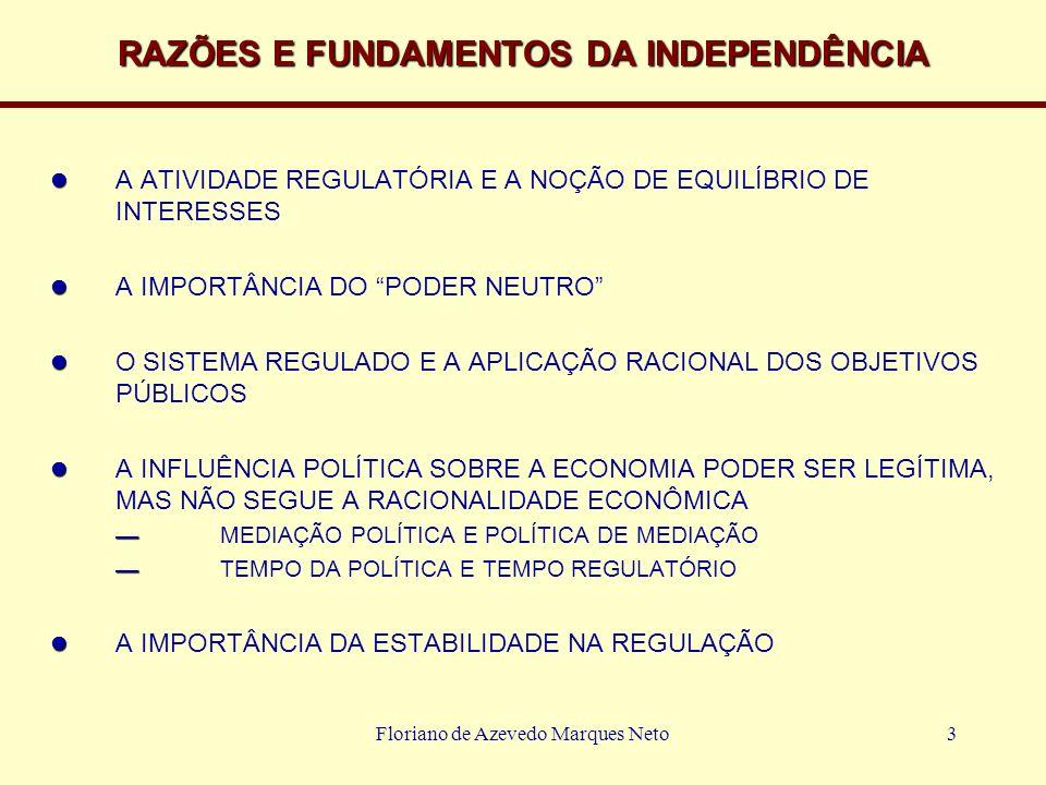 Floriano de Azevedo Marques Neto3 RAZÕES E FUNDAMENTOS DA INDEPENDÊNCIA A ATIVIDADE REGULATÓRIA E A NOÇÃO DE EQUILÍBRIO DE INTERESSES A IMPORTÂNCIA DO