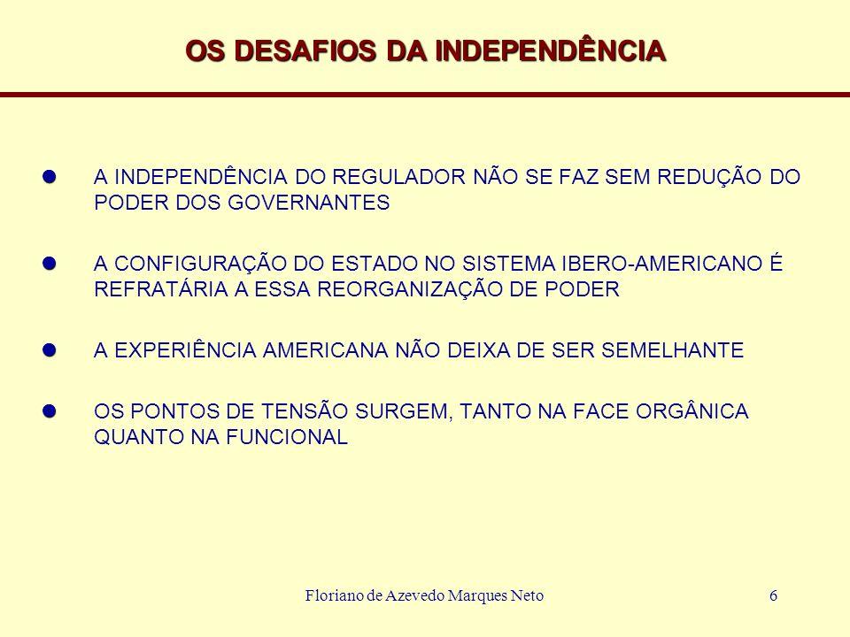 Floriano de Azevedo Marques Neto6 OS DESAFIOS DA INDEPENDÊNCIA A INDEPENDÊNCIA DO REGULADOR NÃO SE FAZ SEM REDUÇÃO DO PODER DOS GOVERNANTES A CONFIGUR