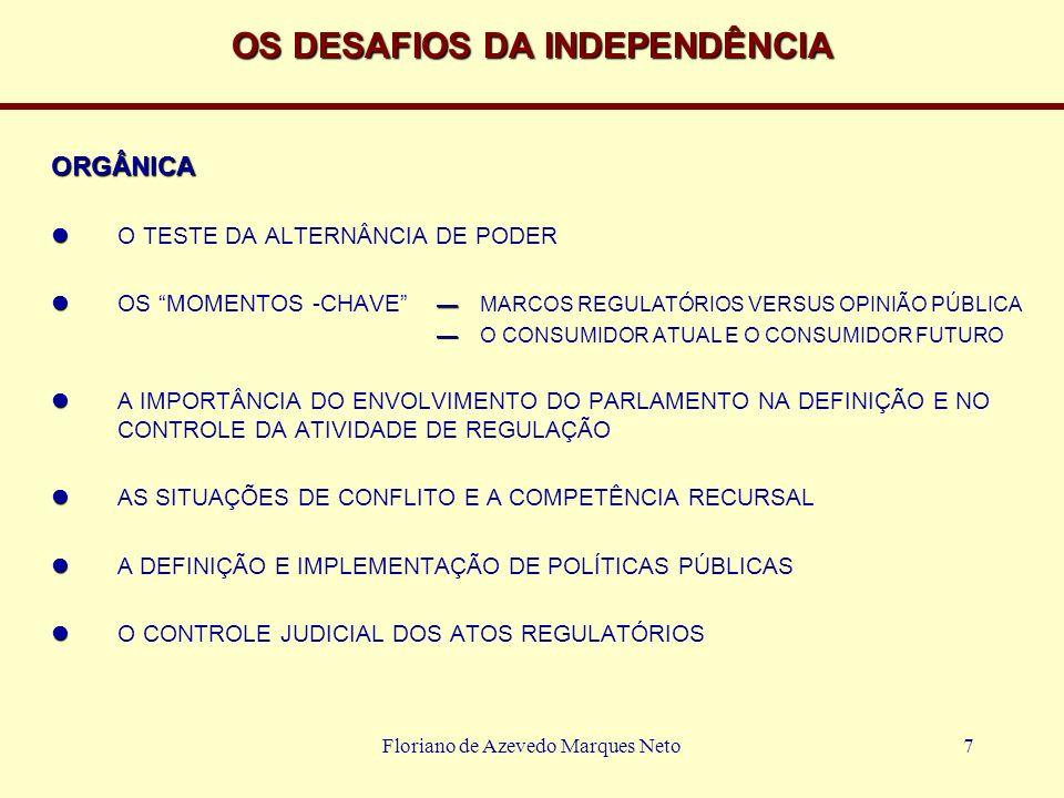 Floriano de Azevedo Marques Neto7 OS DESAFIOS DA INDEPENDÊNCIA ORGÂNICA O TESTE DA ALTERNÂNCIA DE PODER OS MOMENTOS -CHAVE MARCOS REGULATÓRIOS VERSUS