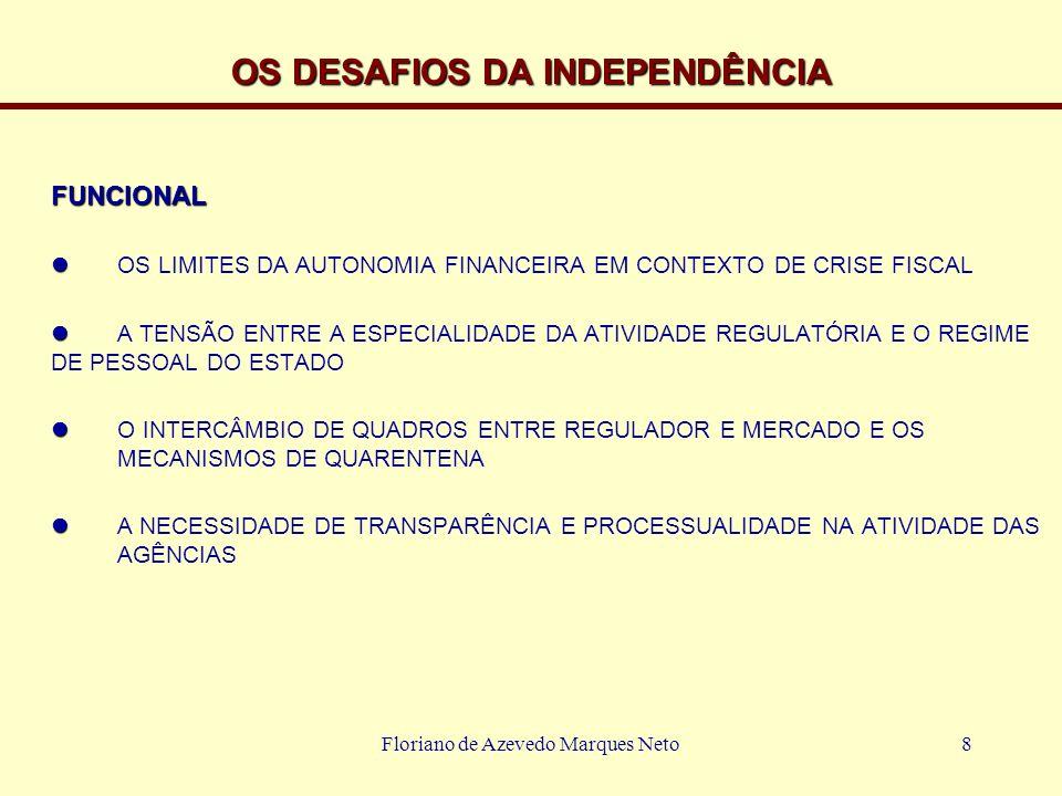 Floriano de Azevedo Marques Neto9 INDEPENDÊNCIA E CONTROLE A NECESSIDADE DE INDEPENDÊNCIA TRAZ O TEMA DOS MECANISMOS DE CONTROLE A TEORIA DA CAPTURA E SUA INDEVIDA APLICAÇÃO NOS PAÍSES DE REGULAÇÃO RECENTE OS MECANISMOS DE CONTROLE SOCIAL PARLAMENTAR POLÍTICO DE GESTÃO POR CRUZAMENTO REGULATÓRIO