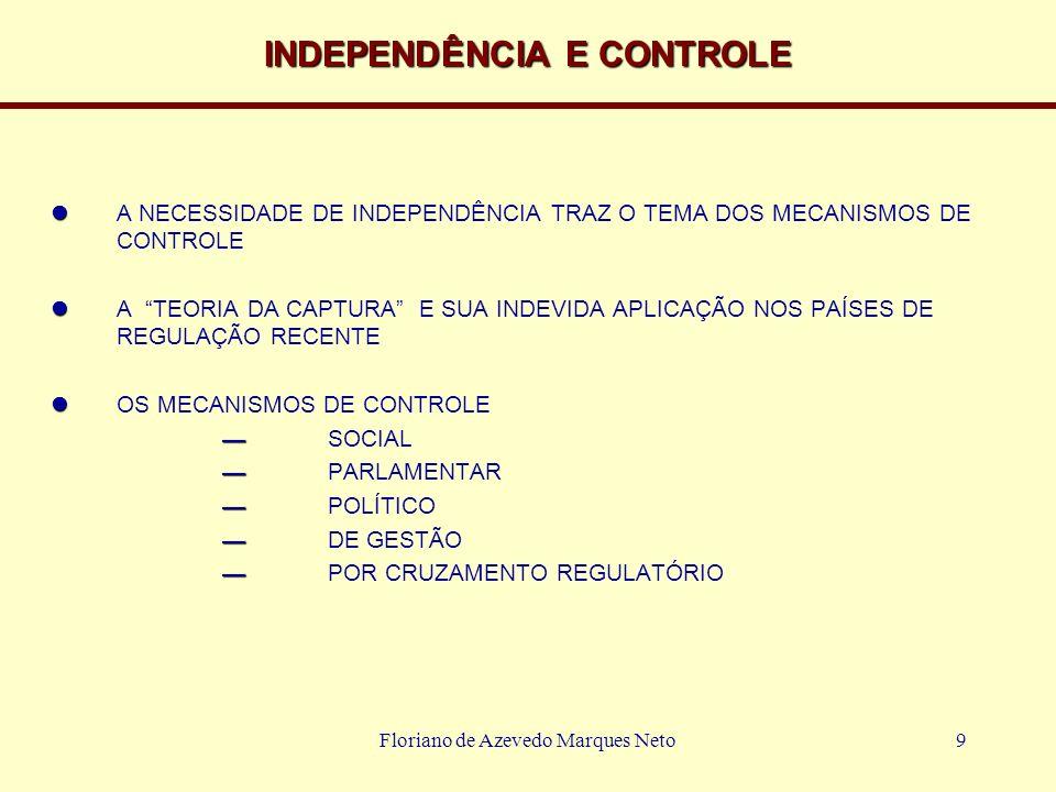 Floriano de Azevedo Marques Neto9 INDEPENDÊNCIA E CONTROLE A NECESSIDADE DE INDEPENDÊNCIA TRAZ O TEMA DOS MECANISMOS DE CONTROLE A TEORIA DA CAPTURA E