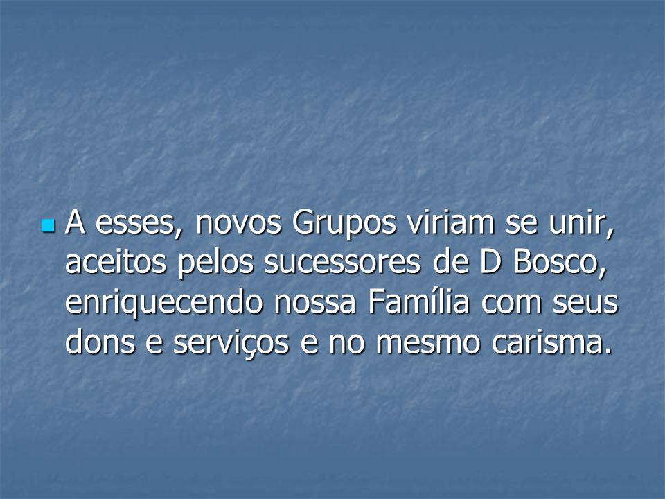 A esses, novos Grupos viriam se unir, aceitos pelos sucessores de D Bosco, enriquecendo nossa Família com seus dons e serviços e no mesmo carisma. A e