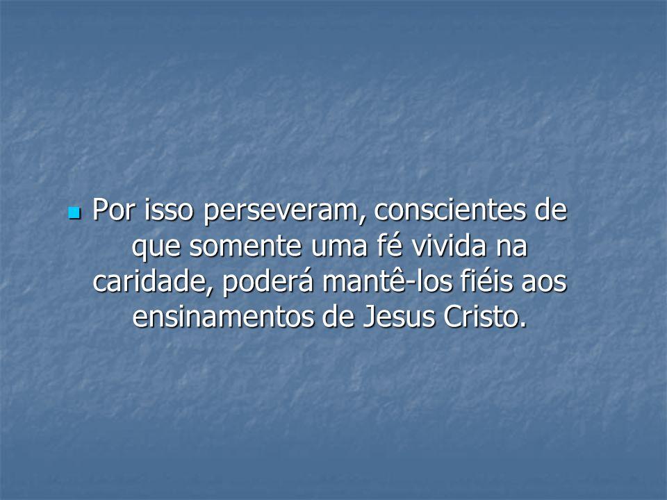 Por isso perseveram, conscientes de que somente uma fé vivida na caridade, poderá mantê-los fiéis aos ensinamentos de Jesus Cristo. Por isso persevera