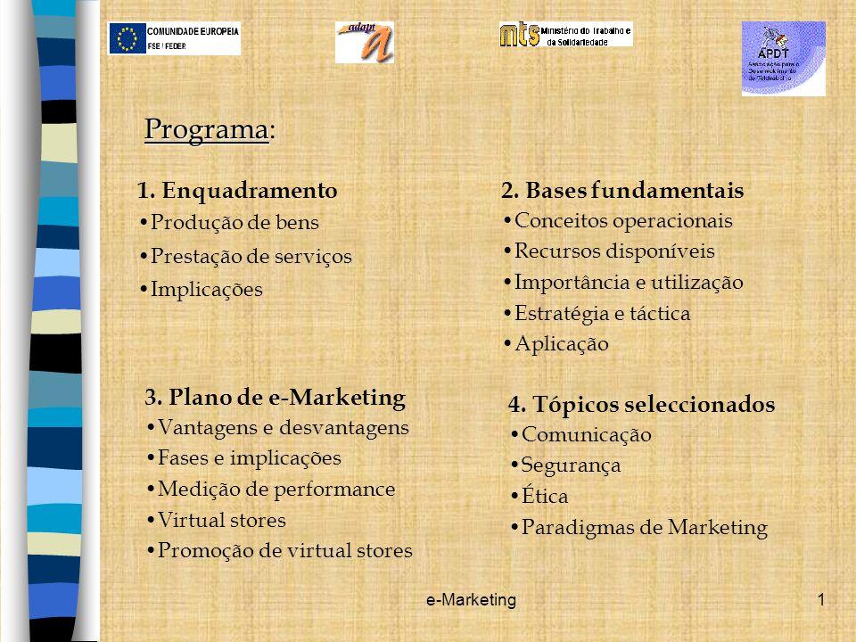 e-Marketing1 Programa Programa: 1. Enquadramento Produção de bens Prestação de serviços Implicações 2. Bases fundamentais Conceitos operacionais Recur