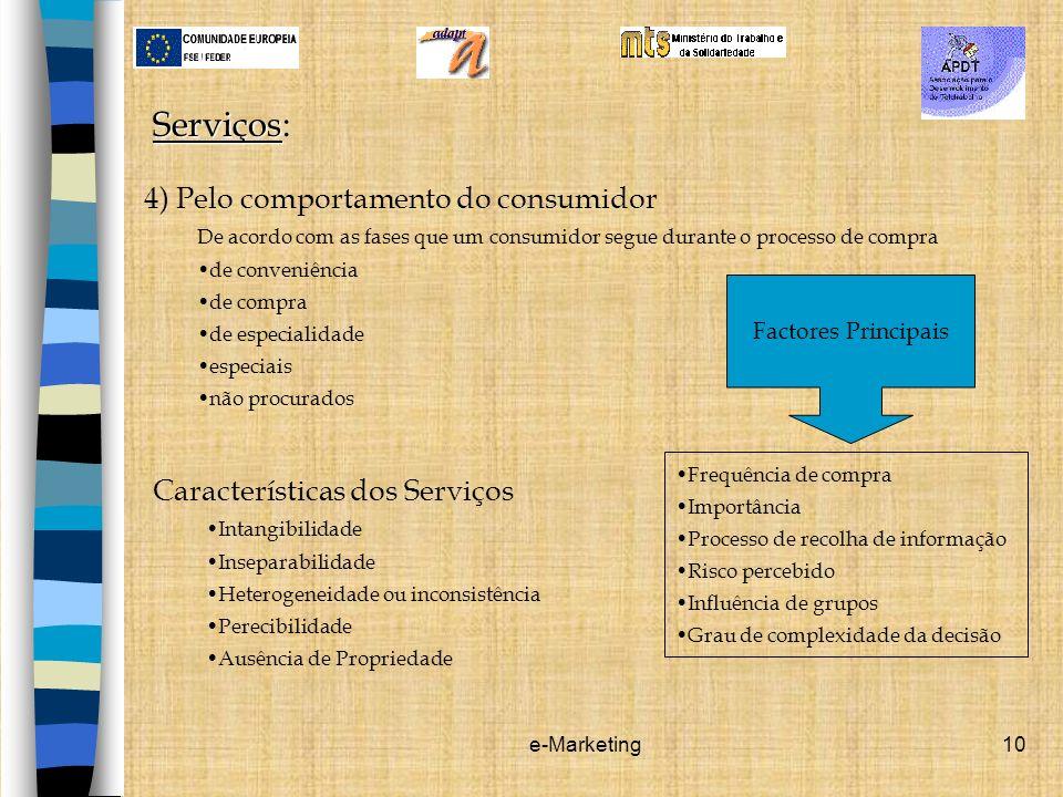 e-Marketing10 Serviços Serviços: 4) Pelo comportamento do consumidor De acordo com as fases que um consumidor segue durante o processo de compra de co