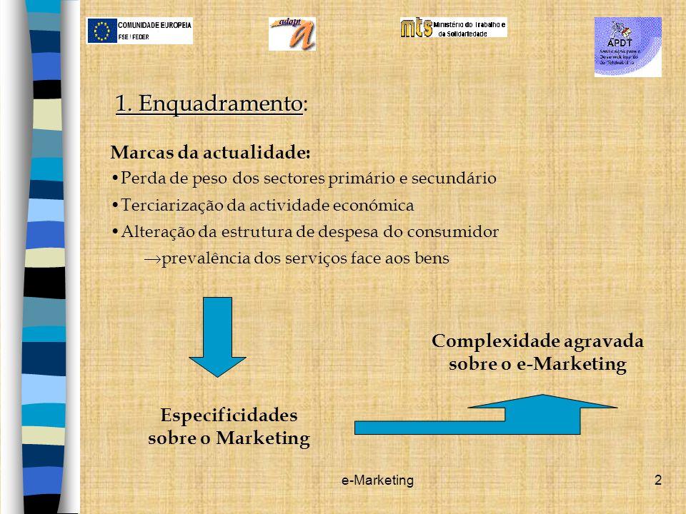 e-Marketing2 1. Enquadramento 1. Enquadramento: Marcas da actualidade: Perda de peso dos sectores primário e secundário Terciarização da actividade ec