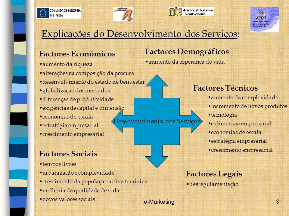 e-Marketing3 Explicações do Desenvolvimento dos Serviços Explicações do Desenvolvimento dos Serviços: Factores Económicos aumento da riqueza alteraçõe
