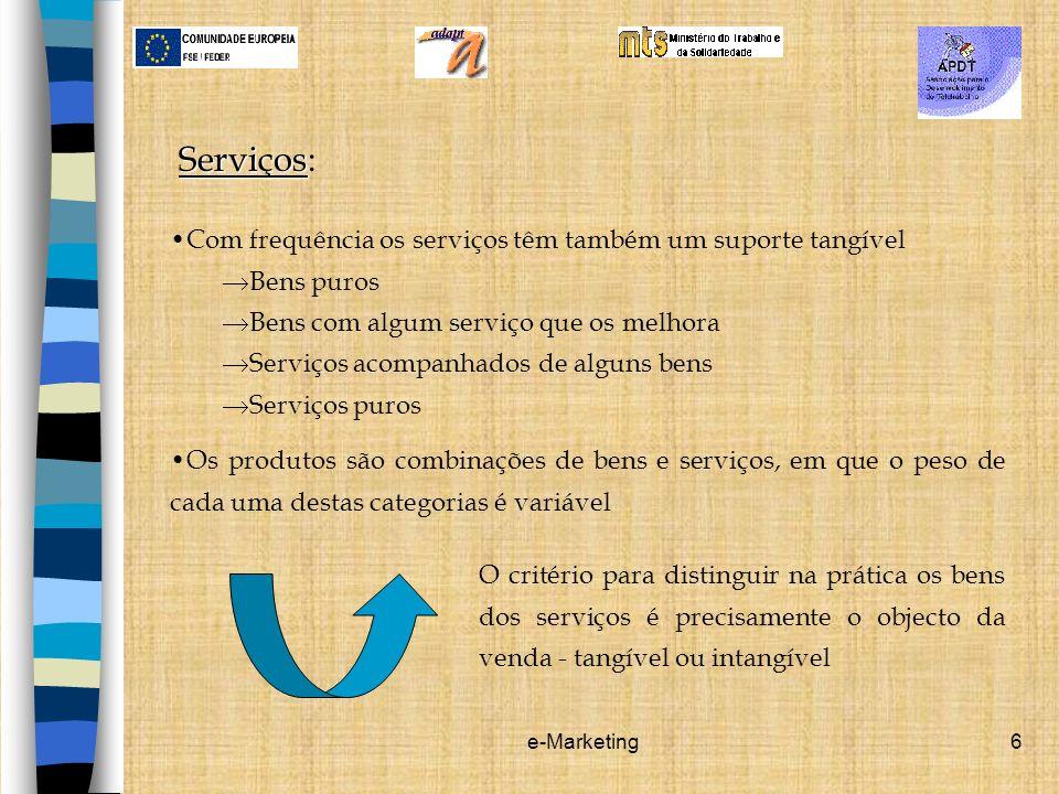 e-Marketing6 Serviços Serviços: Com frequência os serviços têm também um suporte tangível Bens puros Bens com algum serviço que os melhora Serviços ac