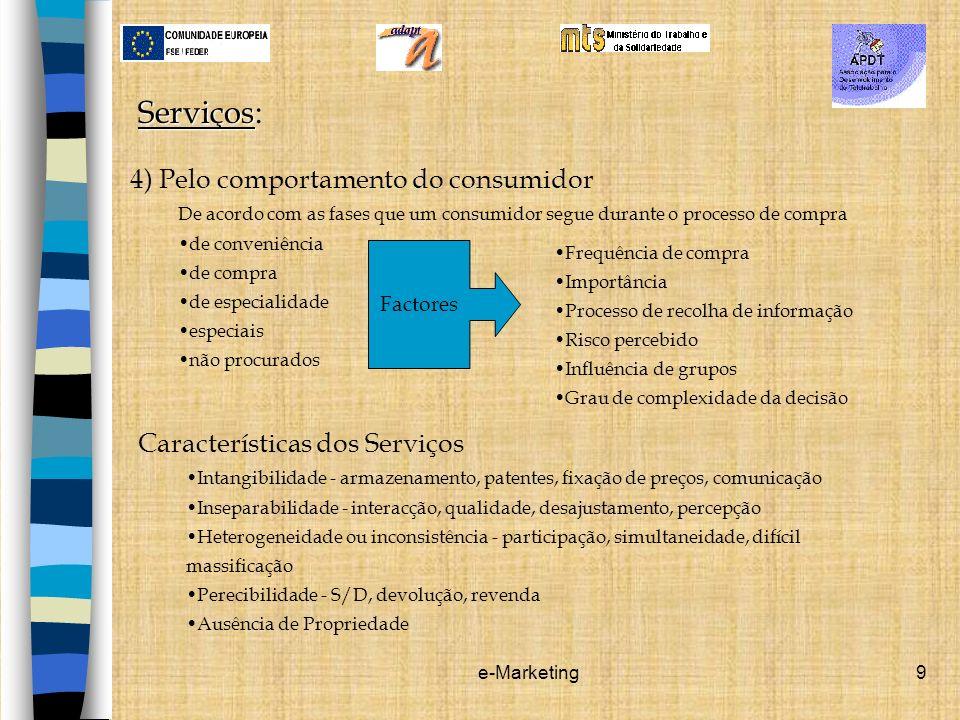 e-Marketing9 Serviços Serviços: 4) Pelo comportamento do consumidor De acordo com as fases que um consumidor segue durante o processo de compra de con