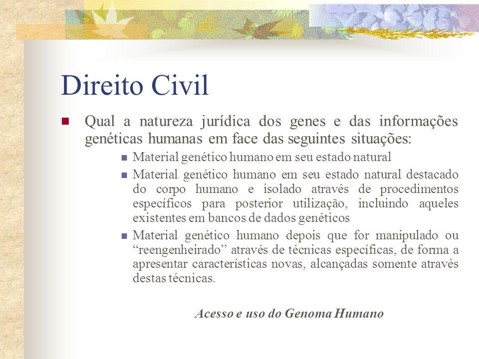 Direito Civil Qual a natureza jurídica dos genes e das informações genéticas humanas em face das seguintes situações: Material genético humano em seu