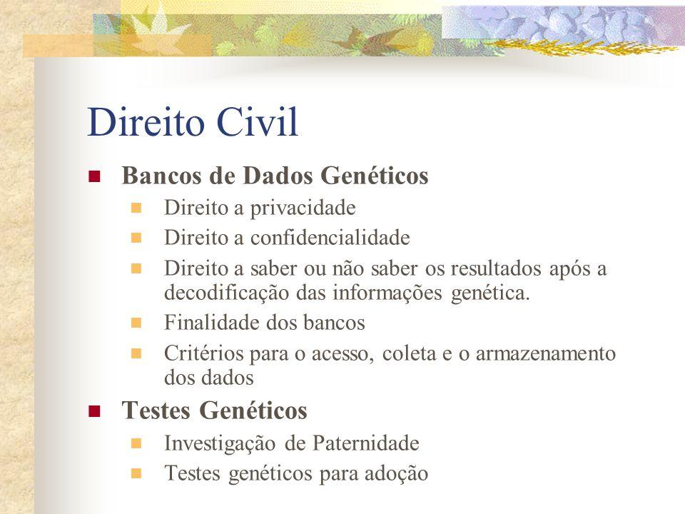 Direito Civil Bancos de Dados Genéticos Direito a privacidade Direito a confidencialidade Direito a saber ou não saber os resultados após a decodifica