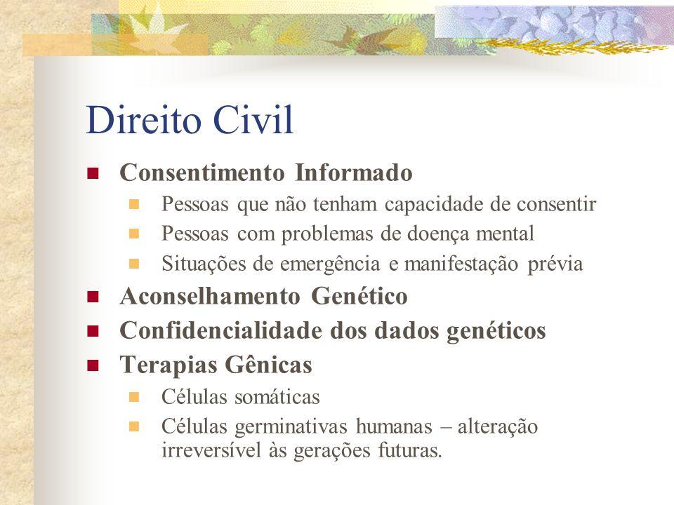 Direito Civil Consentimento Informado Pessoas que não tenham capacidade de consentir Pessoas com problemas de doença mental Situações de emergência e