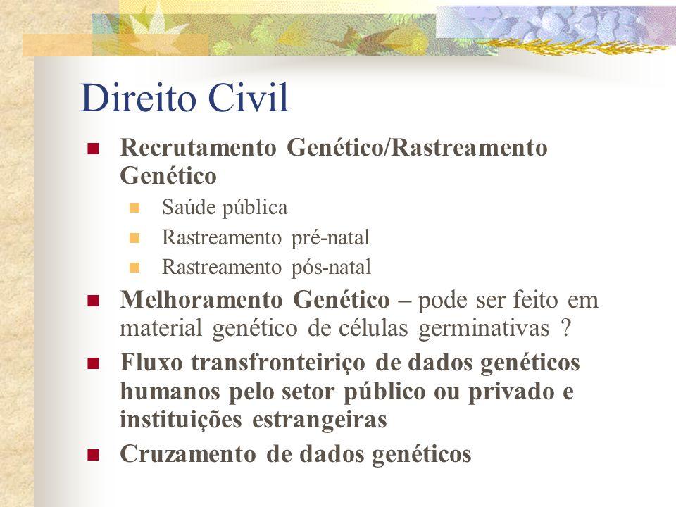 Direito Civil Recrutamento Genético/Rastreamento Genético Saúde pública Rastreamento pré-natal Rastreamento pós-natal Melhoramento Genético – pode ser