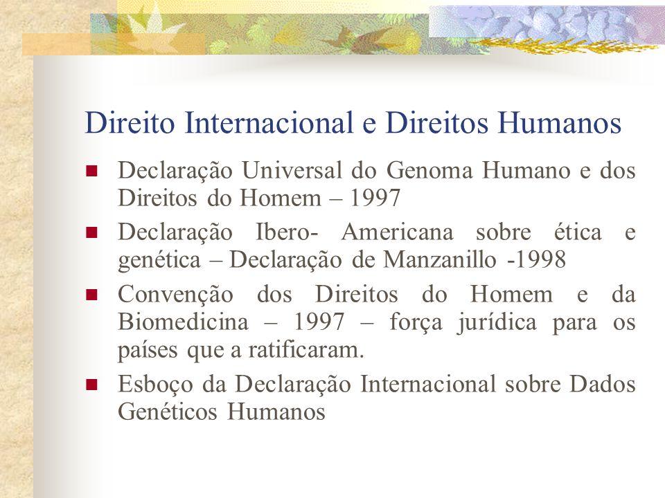 Direito Internacional e Direitos Humanos Declaração Universal do Genoma Humano e dos Direitos do Homem – 1997 Declaração Ibero- Americana sobre ética