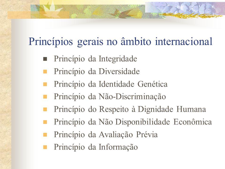 Princípios gerais no âmbito internacional Princípio da Integridade Princípio da Diversidade Princípio da Identidade Genética Princípio da Não-Discrimi