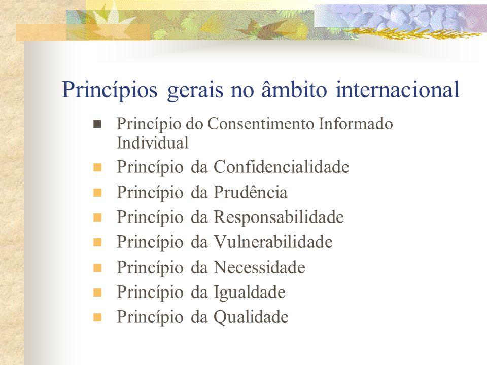 Princípios gerais no âmbito internacional Princípio do Consentimento Informado Individual Princípio da Confidencialidade Princípio da Prudência Princí