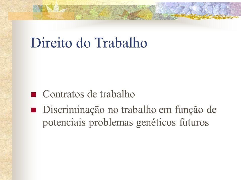 Direito do Trabalho Contratos de trabalho Discriminação no trabalho em função de potenciais problemas genéticos futuros