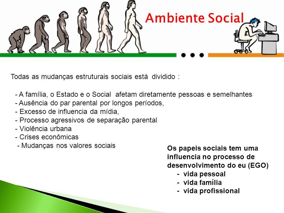Ambiente Social Os papeis sociais tem uma influencia no processo de desenvolvimento do eu (EGO) - vida pessoal - vida família - vida profissional Toda