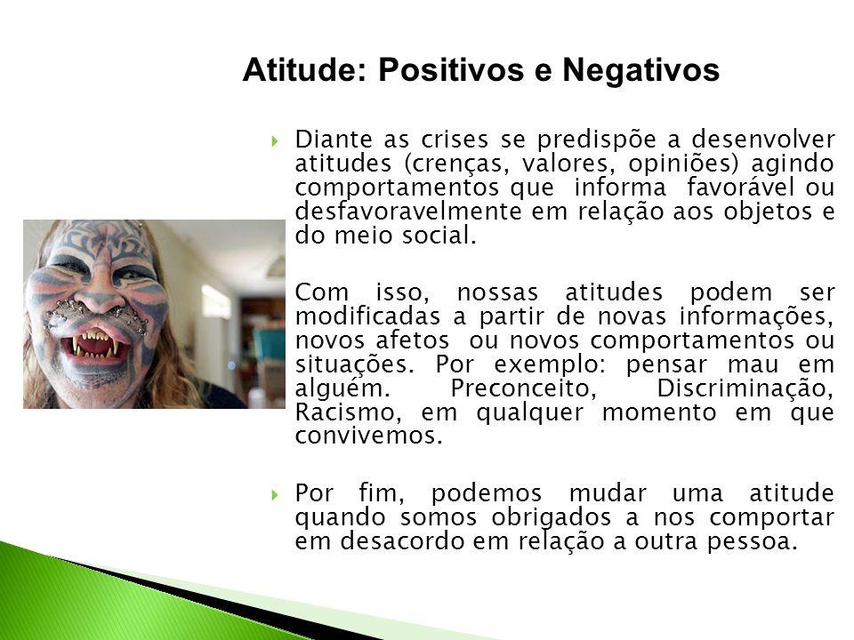 Diante as crises se predispõe a desenvolver atitudes (crenças, valores, opiniões) agindo comportamentos que informa favorável ou desfavoravelmente em