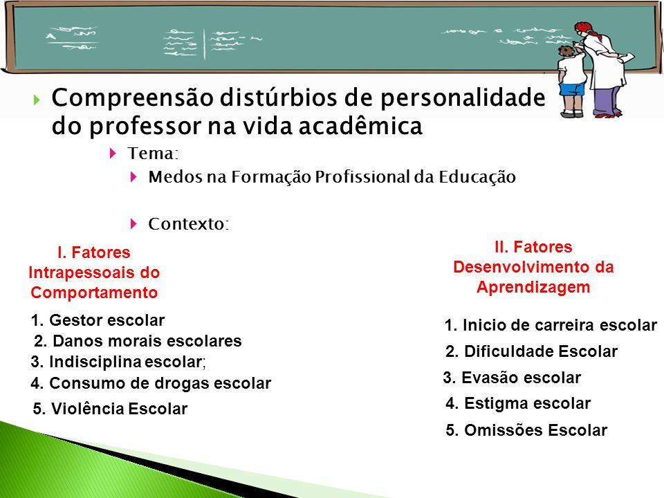 Tema: Medos na Formação Profissional da Educação Contexto: Compreensão distúrbios de personalidade do professor na vida acadêmica I. Fatores Intrapess