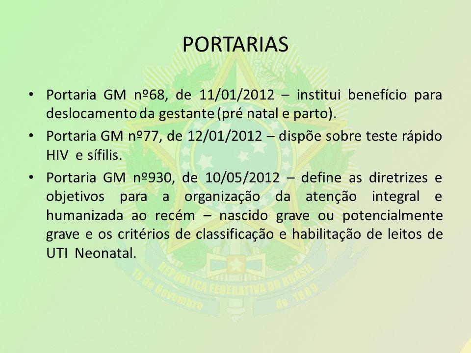 PORTARIAS Portaria GM nº68, de 11/01/2012 – institui benefício para deslocamento da gestante (pré natal e parto). Portaria GM nº77, de 12/01/2012 – di
