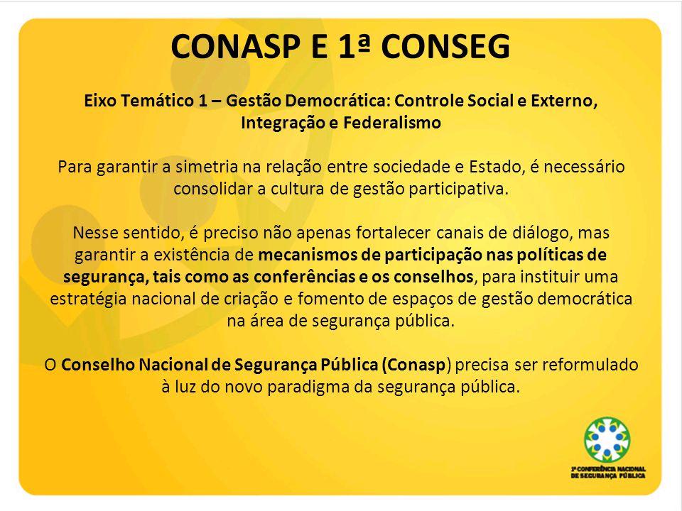 CONASP E 1ª CONSEG Eixo Temático 1 – Gestão Democrática: Controle Social e Externo, Integração e Federalismo Para garantir a simetria na relação entre