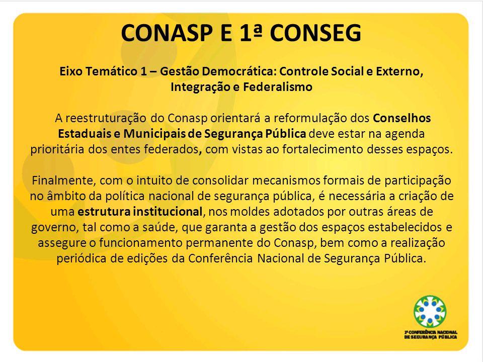 CONASP E 1ª CONSEG Eixo Temático 1 – Gestão Democrática: Controle Social e Externo, Integração e Federalismo A reestruturação do Conasp orientará a re