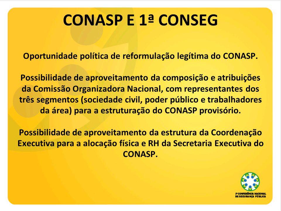 CONASP E 1ª CONSEG Oportunidade política de reformulação legítima do CONASP. Possibilidade de aproveitamento da composição e atribuições da Comissão O