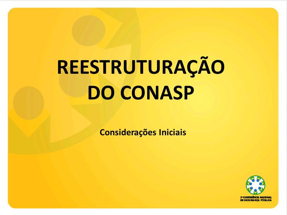 REESTRUTURAÇÃO DO CONASP Considerações Iniciais