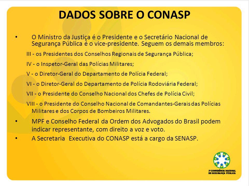 DADOS SOBRE O CONASP O Ministro da Justiça é o Presidente e o Secretário Nacional de Segurança Pública é o vice-presidente. Seguem os demais membros: