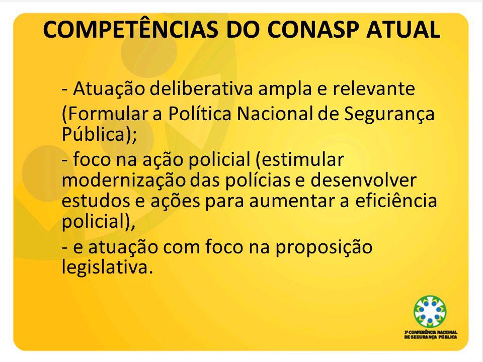 COMPETÊNCIAS DO CONASP ATUAL - Atuação deliberativa ampla e relevante (Formular a Política Nacional de Segurança Pública); - foco na ação policial (es