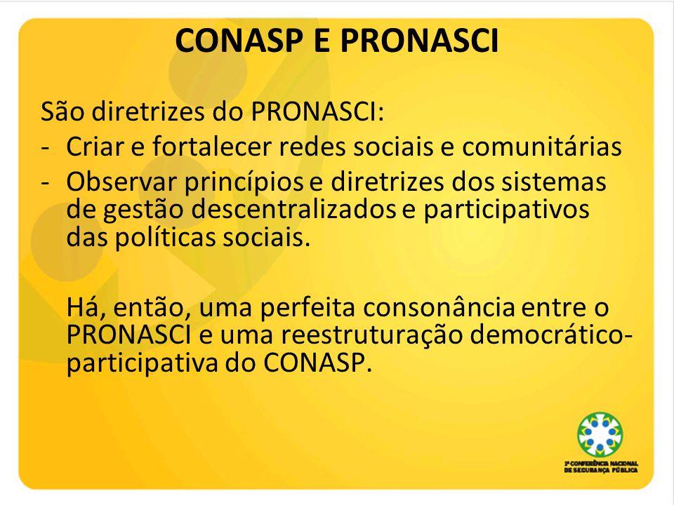 CONASP E PRONASCI São diretrizes do PRONASCI: -Criar e fortalecer redes sociais e comunitárias -Observar princípios e diretrizes dos sistemas de gestã
