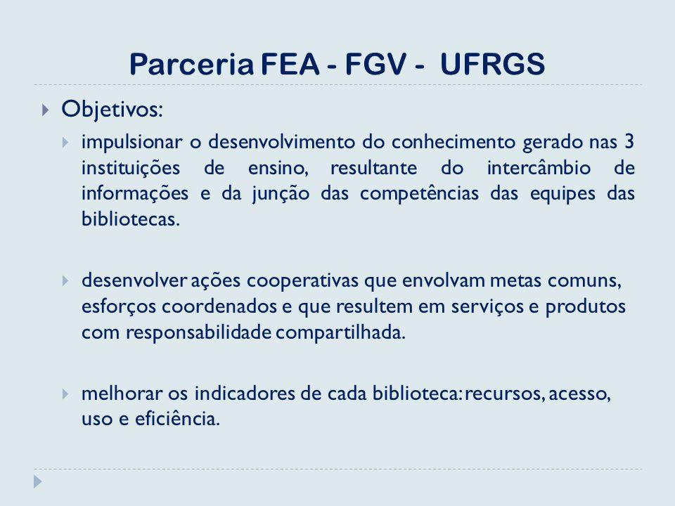 Parceria FEA - FGV - UFRGS Objetivos: impulsionar o desenvolvimento do conhecimento gerado nas 3 instituições de ensino, resultante do intercâmbio de informações e da junção das competências das equipes das bibliotecas.