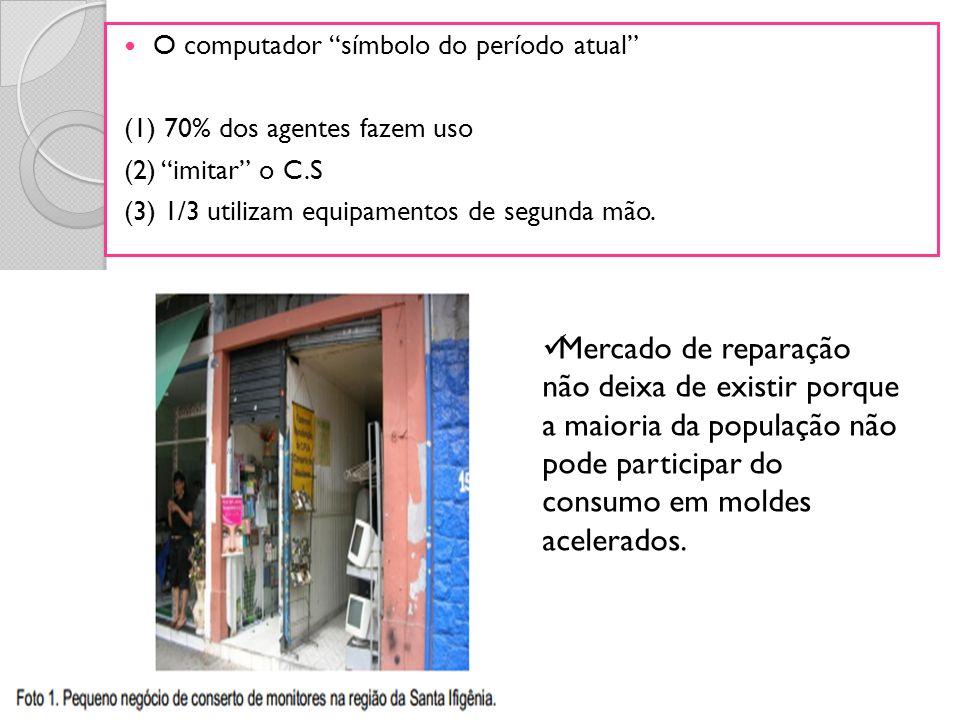 O computador símbolo do período atual (1) 70% dos agentes fazem uso (2) imitar o C.S (3) 1/3 utilizam equipamentos de segunda mão. Mercado de reparaçã