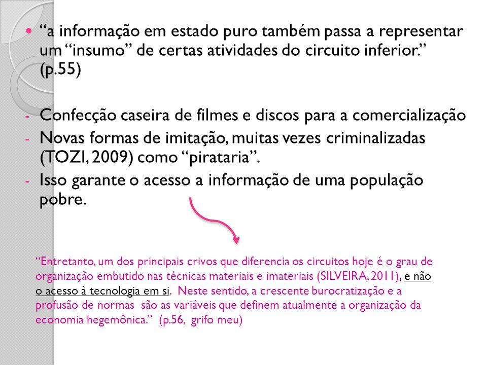 a informação em estado puro também passa a representar um insumo de certas atividades do circuito inferior. (p.55) - Confecção caseira de filmes e dis