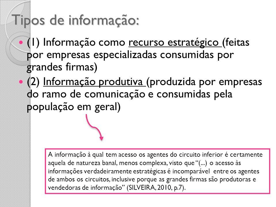 Tipos de informação: (1) Informação como recurso estratégico (feitas por empresas especializadas consumidas por grandes firmas) (2) Informação produti