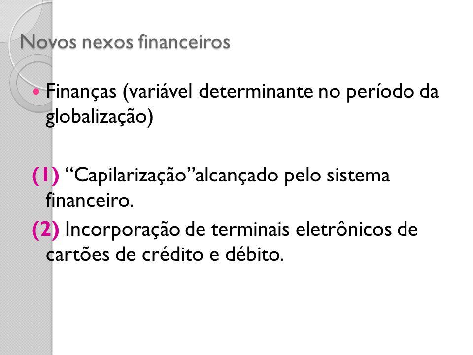 Novos nexos financeiros Finanças (variável determinante no período da globalização) (1) Capilarizaçãoalcançado pelo sistema financeiro. (2) Incorporaç